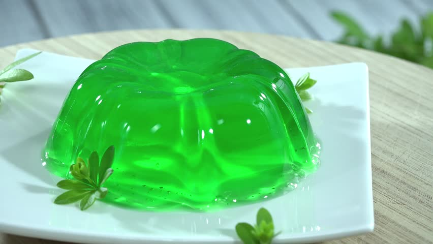 Stock video of woodruff jelly dessert (seamless loopable ...