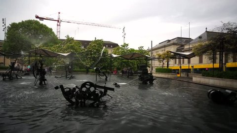 BASEL, SWITZERLAND - CIRCA MAY 2015: View of Tingueli fountain with moving mechanisms.