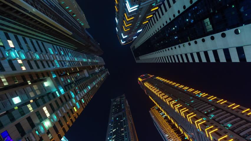 Dubai city night illumination apartment buildings up view 4k time lapse uae | Shutterstock HD Video #11641667