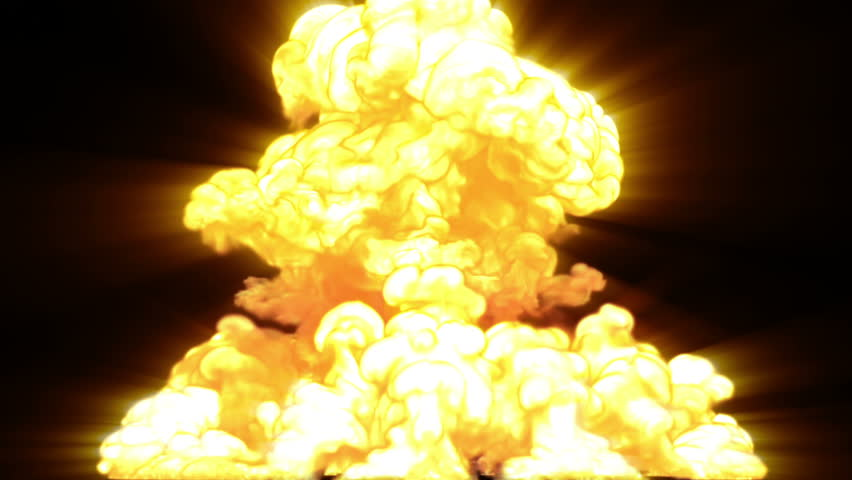 Nuclear Explosion, 3d animation with an alpha-matte