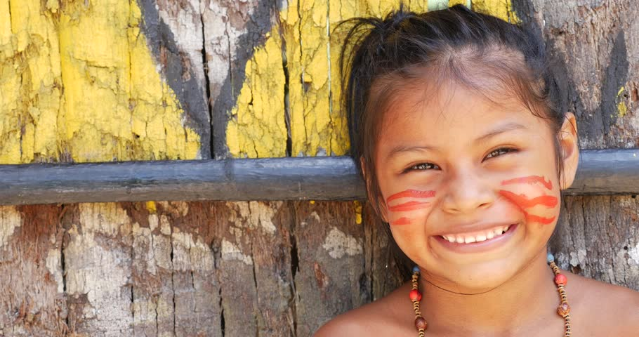 Native Brazilian Children Playing At An Indigenous Tribe ...