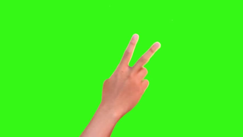 attractive hand gesture showing countdown isolated on green screen #11654063