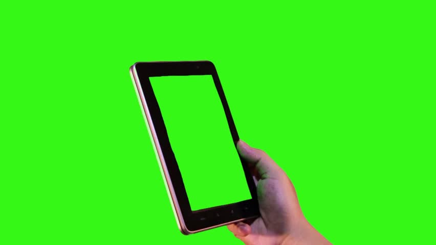 attractive hand gesture touching virtual tablet phone on green screen #11654153