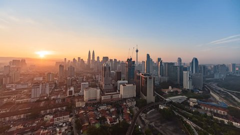 Time lapse: Kuala Lumpur city view during dawn overlooking the city skyline