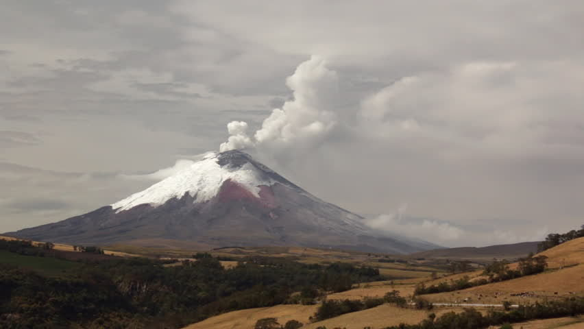 Cotopaxi Volcano, Ecuador erupting on the 11th of September 2015. The Rio Pita ravine in foreground.