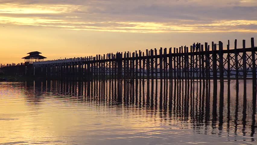 Ubein Bridge at sunrise, Mandalay, Myanmar | Shutterstock HD Video #11668853