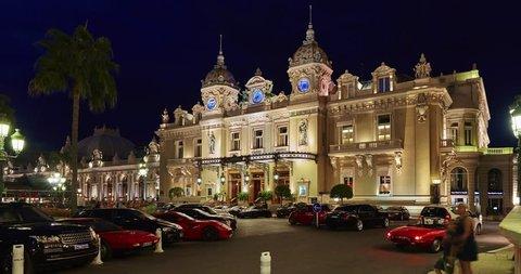Monaco, Monte Carlo, 04 09 2015: Casino Monte-Carlo in the night, view from hotel de Paris