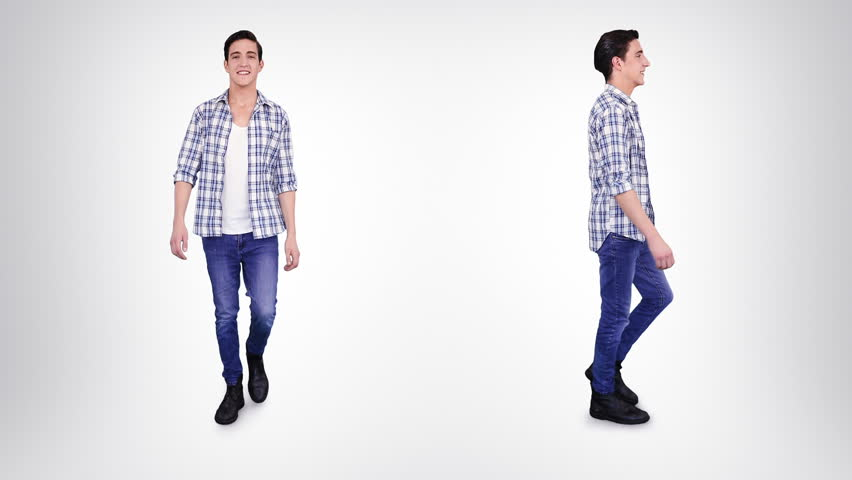 Young man walking in casual clothing over white background. Alpha matte. 2 in 1. Lateral and frontal view. More options in my portfolio.