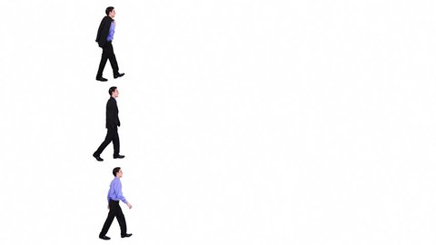 Businessman walking. 3 in 1. Man walking from left to right. Alpha matte included. More options in my portfolio.