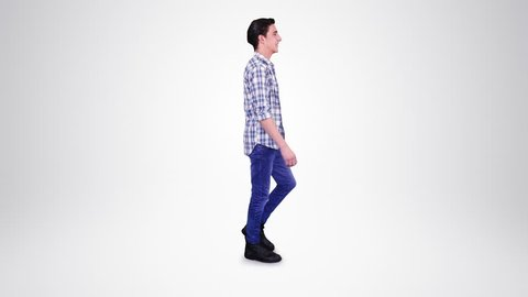 Young man walking. Alpha matte. 2 in 1. Loopable. Lateral and frontal view. More options in my portfolio.
