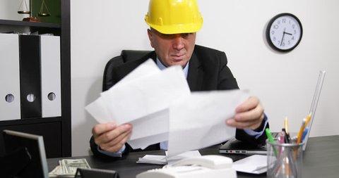 Depressed Builder Man Manager Deadline Supplier Invoice Payment Debt Frustration ( Ultra High Definition, UltraHD, Ultra HD, UHD, 4K, 2160P, 4096x2160 )