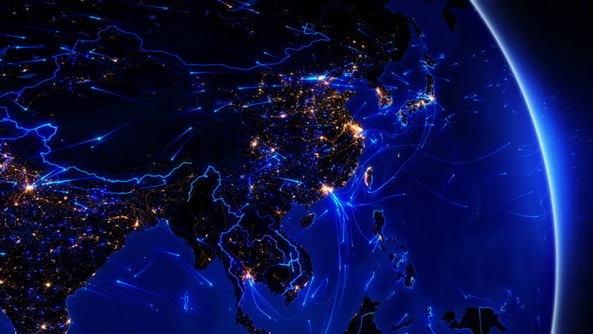 Earth connections. Asia. Japan and China. Animation of the Earth with bright connections and citiy lights. Aerial, maritime, ground routes and country borders. 2 in 1 file. Dolly and locked. Blue. #11727533
