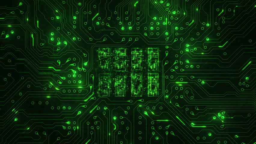 Futuristic circuit board with moving electrons. 2 videos in 1 file. Locked shot with CPU animation. Loopable. Technology. Green. More options in my portfolio. | Shutterstock HD Video #11728583