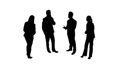 Business silhouettes. 4 in 1. Business people talking. More options in my portfolio.