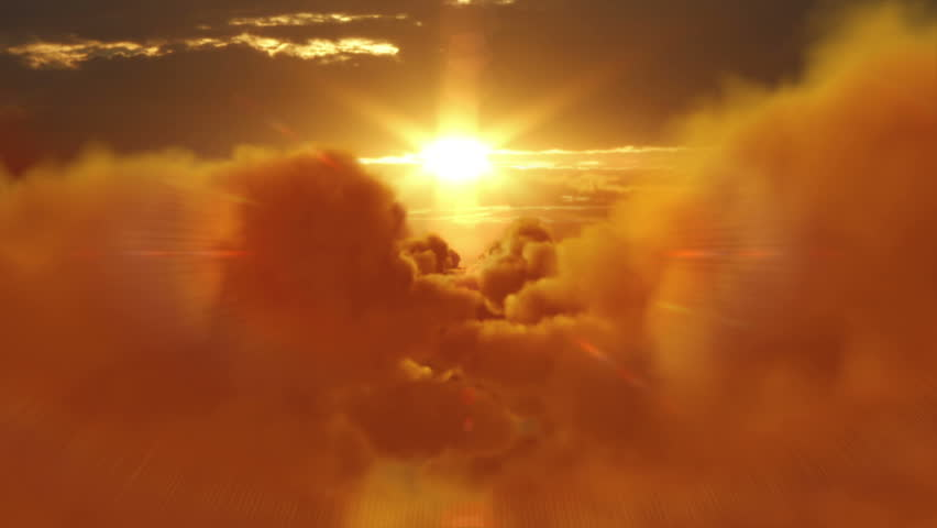 Sunset over clouds. From day to night. Flight through fluffy clouds. More options in my portfolio.   Shutterstock HD Video #11740613