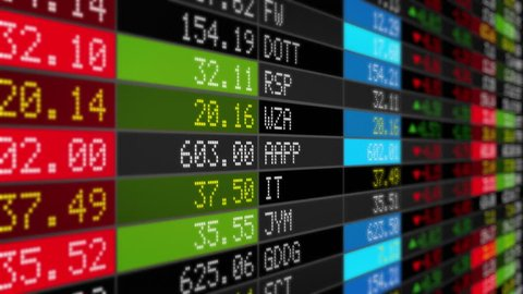 Stock Market Tickers. Loopable. Black. 2 videos in 1 file. Digital animation of Stock Market prices passing by. Lateral view. More options in my portfolio.
