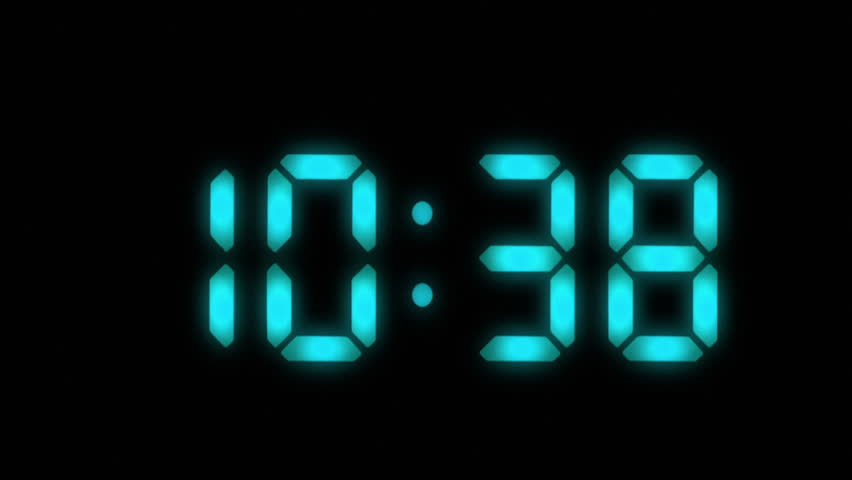 Digital clock with 12 hours, you can choose any hour or minute. Black background. 1 frame per minute. Loopable. Blue. More options in my portfolio.