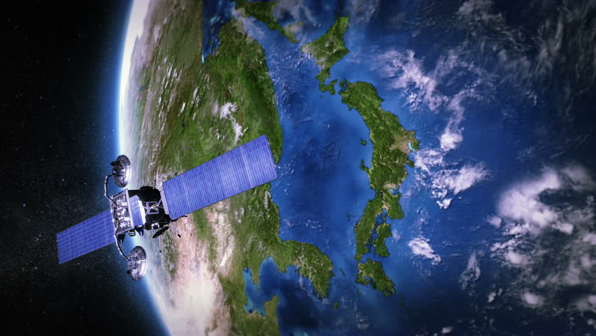 Japan. Highly detailed telecommunication satellite orbiting the Earth. Satellite and Earth models based on images courtesy of: NASA http://www.nasa.gov. 2 videos in 1 file.