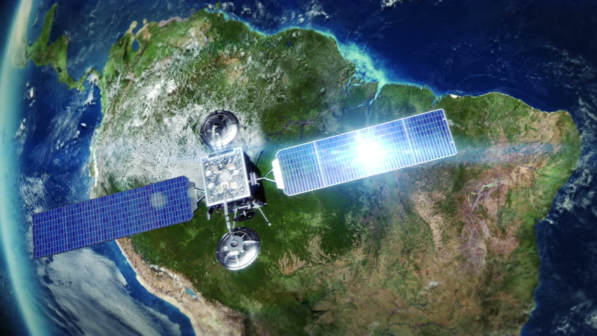 South America. Highly detailed telecommunication satellite orbiting the Earth. Satellite and Earth models based on images courtesy of: NASA http://www.nasa.gov. 3 videos in 1 file.