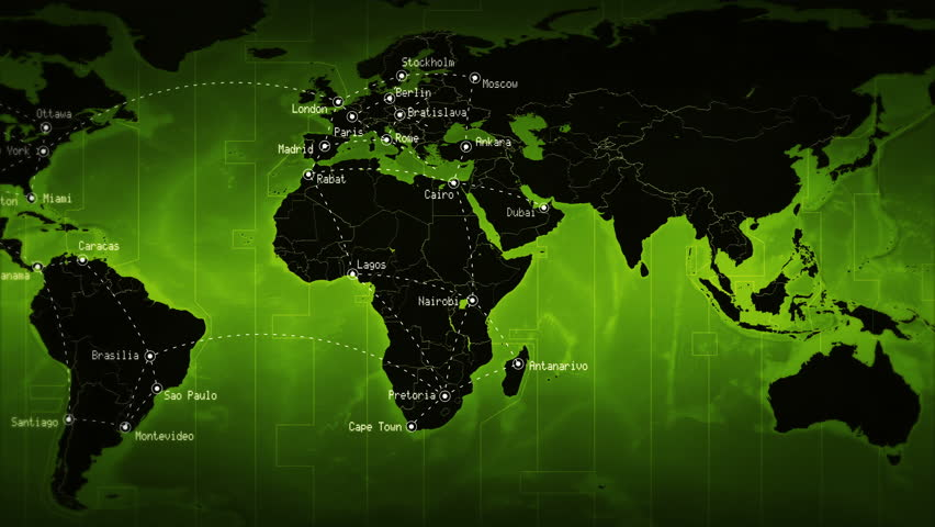 World map high tech digital satellite data view war room 4k videos world map showing well known cities and times zones with connections green loopable gumiabroncs Gallery