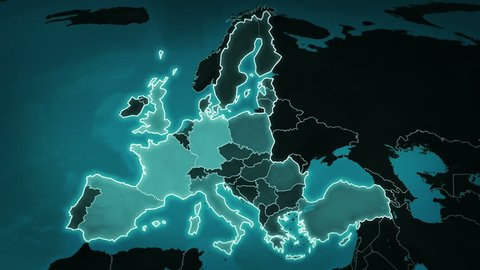 World map with European Airports, Roads and Railroads. Blue. Highly detailed European map. Loopable. More options in my portfolio.