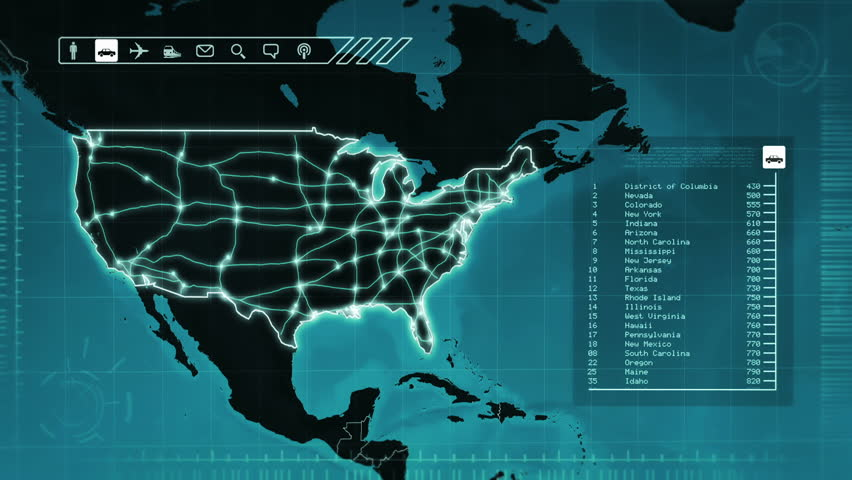 World Map With US Airports Interstate Routes And Railroads Blue - Us map detailed