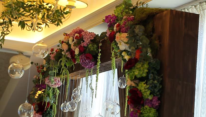 Flowers for wedding ceremony wedding arch background stock footage video wedding decor hd stock video clip junglespirit Gallery