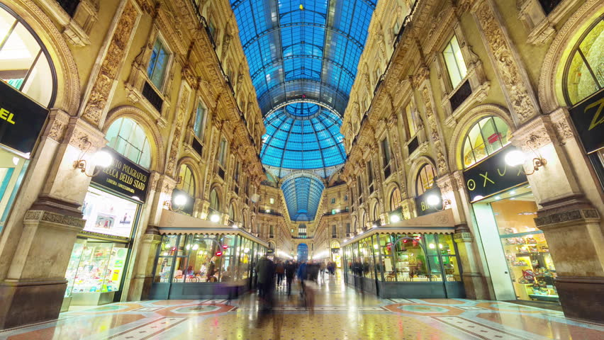 milan city famous shopping duomo gallery panorama 4k time lapse italy