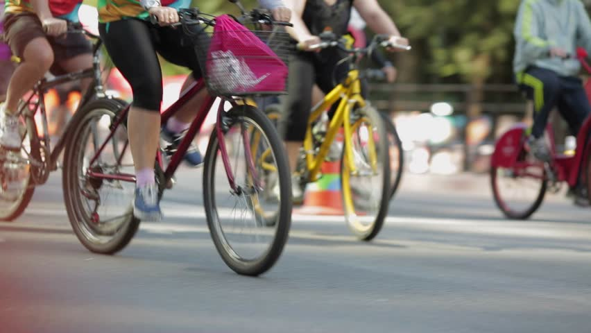 SAO PAULO, SP - BRAZIL JULY 2015 - Bikers take over the avenue Paulista during the first Sunday bike zone | Shutterstock HD Video #11812178