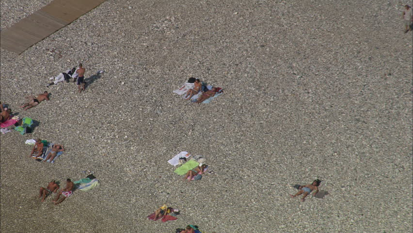 AERIAL France Le Havre 2006 Sunbathers On Beach At Tight