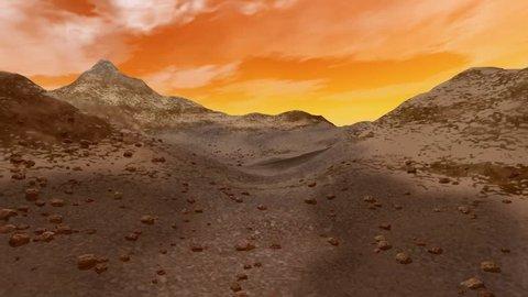 Desert animation, a rocky landscape and a beautiful sky.