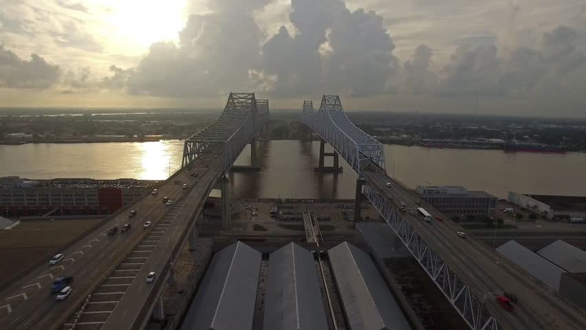 Aerial video of New Orleans in Mississippi.