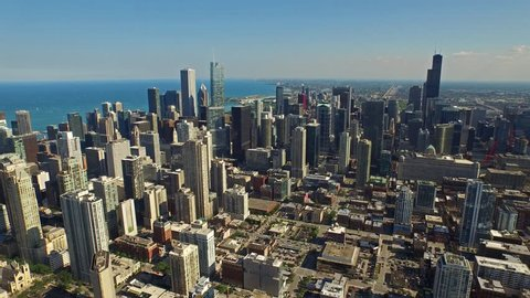 Aerial video of Chicago, Illinois during the day.