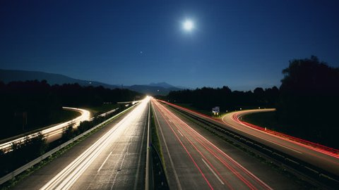 T/L WS Traffic on highway at night / Austria, 01/01/2013