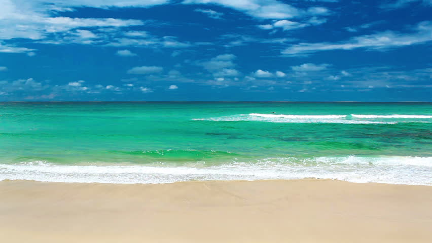 Hd Tropical Island Beach Paradise Wallpapers And Backgrounds: Beach, Sea, Sand,wave. Tropical Beach, Blue Sky, Clouds