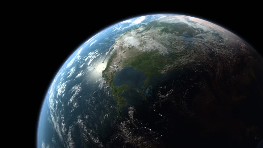 Realistic Earth rotating around its axis. (Loop, HD)