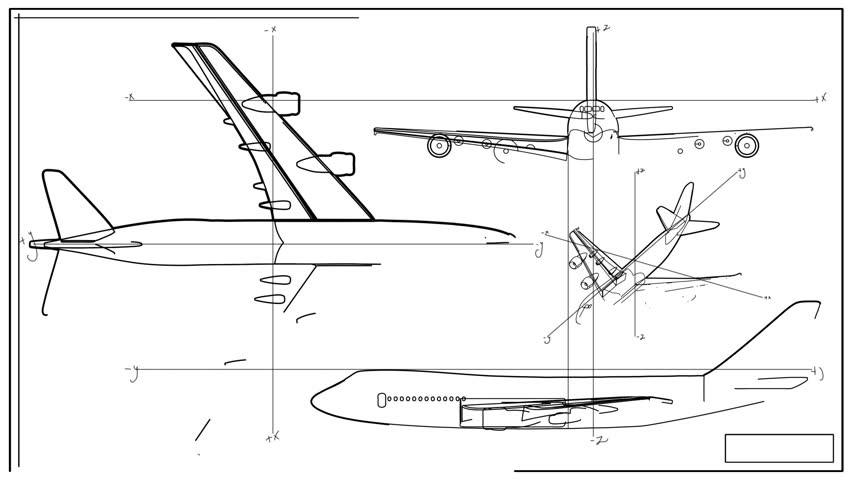 Aircraft blueprint smooth camera pan and zoom stock footage video aircraft technical drawing time lapse hd stock footage clip malvernweather Images