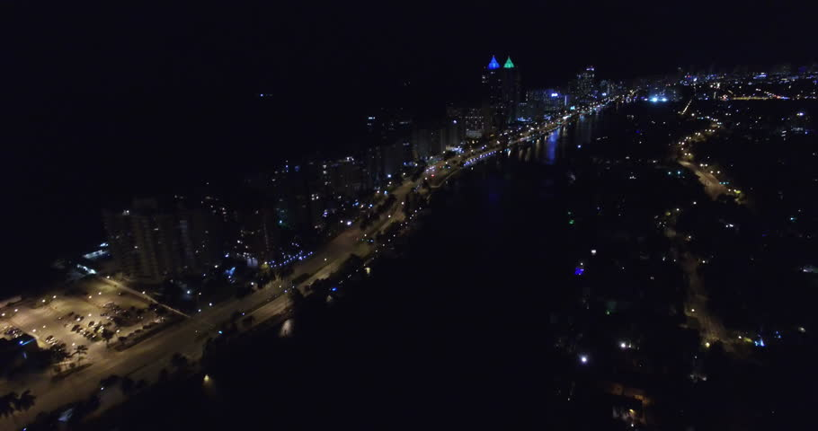Aerial Drone Footage Of Miami Beach At Night