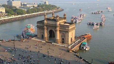 India - March 2015: Mumbai India Gate Maharashtra Asia monument boat sea Hindu building sea city people harbor travel tourist