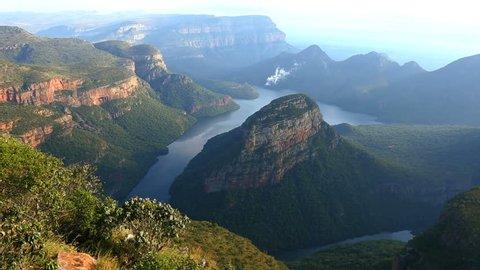 South Africa Blyde River Canyon Mpumalanga Drakensberg escarpment male sightseeing sandstone river landscape mountain valley travel