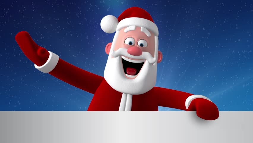 3d new year greeting card stock footage video 100 royalty free 3d render funny cartoon character of santa claus peeping out from behind a white banner m4hsunfo