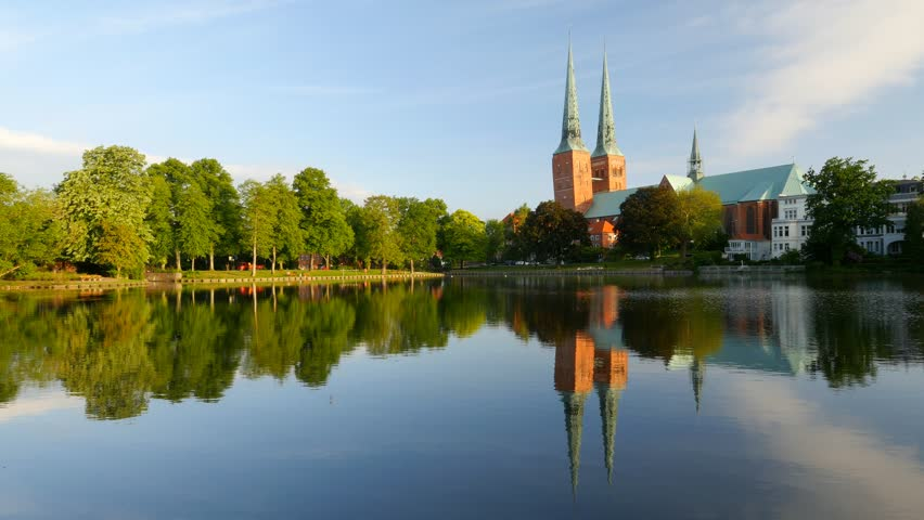 Lubeck old town, Cathedral and Trave river, Germany