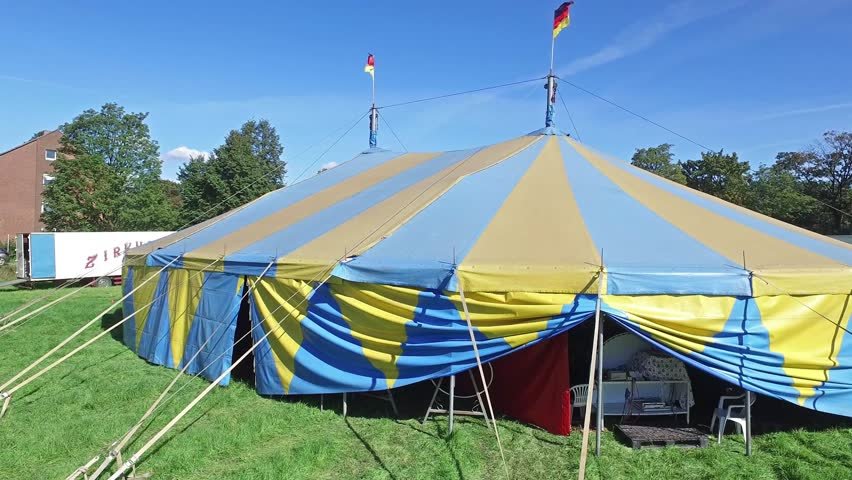 moers germany september 29 2015 circus kuebler prepares for the show aerial