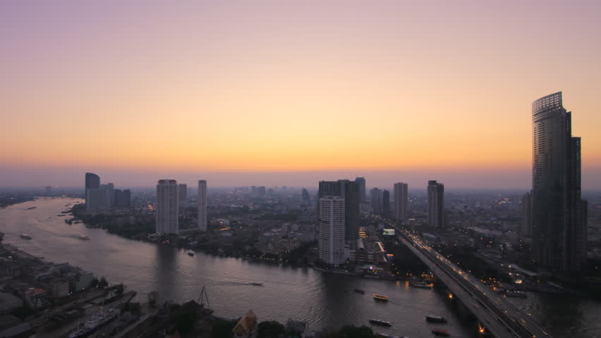 Bangkok City at evening time, Hotel and resident area in the capital of Thailand,Time lapse | Shutterstock HD Video #11969153