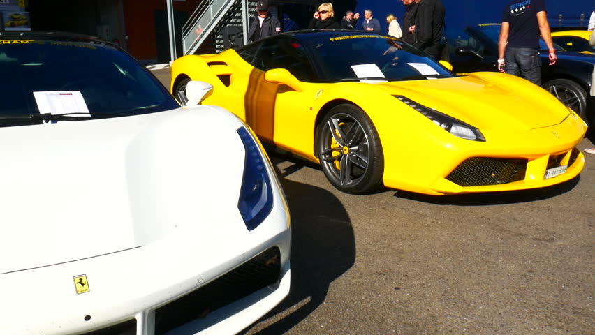 spa belgium september 27 2015 ferrari 488 gtb sports cars on display - Ferrari 2014 Yellow