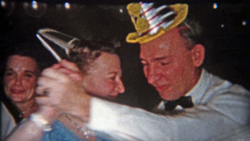 CLEVELAND, OHIO 1953: Dance party on New Years with funny hats and sweaty people.