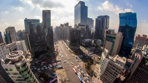 Time lapse of downtown Gangnam in Seoul Korea from a high angle.
