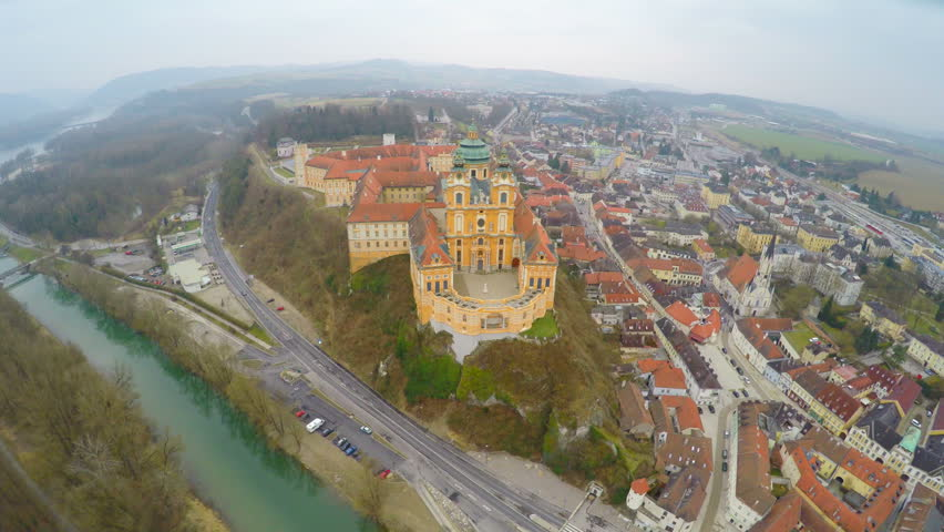 Top view of river Danube and Benedictine abbey atop town Melk, Austria. Winter