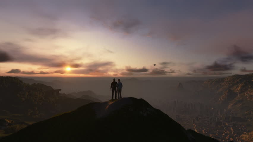 Couple on top of the mountain, timelapse sunrise, camera fly | Shutterstock HD Video #12035183