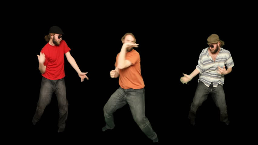 Group of three young adult men dancers. Green screen pre keyed alpha matte.